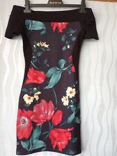 Quiz off the shoulders wiggle dress size 10 black with floral design 💕
