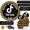 TIKTOK THEMED BIRTHDAY PERSONALISED CAKE CUPCAKE TOPPERS