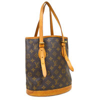 LOUIS VUITTON BUCKET PM HAND TOTE BAG AR0966 PURSE MONOGRAM CANVAS M42238 34915