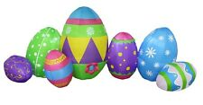 8 Foot Long Easter Inflatable LEDS Outdoor Yard Decoration Colorful Eggs Patch