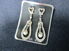 Pearl Drop Heart Marcasite Earrings CZ Fancy Post Wedding Formal 4.75 cm  New
