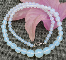 "Healing Chakra Reiki 6-14mm Faceted Sri Lanka White Opal Necklace 18 ""AAA"