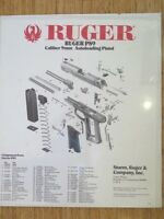 1992 RUGER P89 CALIBER 9MM AUTOLOADING PISTOL  POSTER. GREAT FOR BAR / MANCAVE.