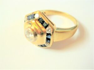 Ring Gold 750 with Diamonds And Sapphires, 6,45 G