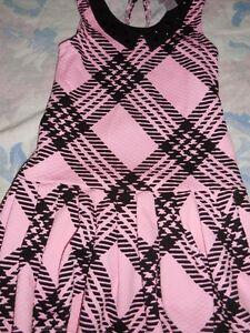 nwot Justice pink black plaid knit  dress girl 5 free ship USA