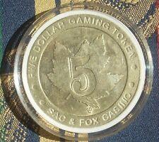 2 (Two) $5 Brass Slot Token Coins Sac & Fox Casino Gdc Mint Hiawatha Kansas Rare