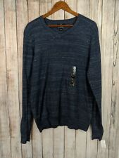 Rock & Republic Kohl's Men's V-Neck Blue Cotton Pullover Striped Sweater Large L