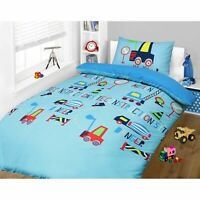 Construction Digger Vehicles Kids Boys Childrens Blue Bedding Duvet Cover Set