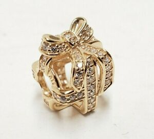NEW Pandora All Wrapped Up Openwork Charm 14K Gold Cubic Zirconia Clear Stone