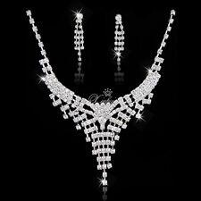 Fashion Bridal Wedding Set Rhinestone Crystal Necklace Earring Jewelry Sets