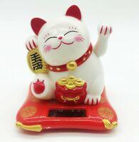 Solar Powered White Maneki Neko Beckoning Lucky Money Cat Dancing Toy USA Seller