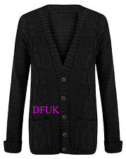 LADIES NEW  CHUNKY CABLE KNITTED BOYFRIEND WINTER JUMPERS CARDIGANS  SIZE 8-22