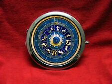 ASTRO CLOCK STEAMPUNK ZODIAC BLUE ROUND COMPACT MIRROR