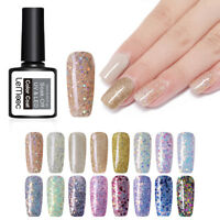 LEMOOC 12ml Glitter Sequins Nail UV Gel Polish Nail Art Soak Off UV Gel Varnish