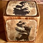 HANDCRAFTED 3.5' LARGE.WOODEN BLOCK ANTIQUE PHOTOS OF TEDDY BEARS AND GIRLS