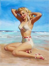 1940s Pin-Up Girl Sun Basking Beach Ocean Picture Poster Print Art Pin Up
