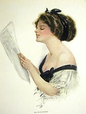 Harrison Fisher Girl SINGING an OLD SONG 1912 SHEET MUSIC Antique Print Matted