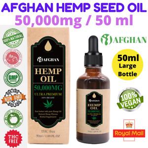 Afghan Hemp Seed Oil 50,000mg / 50ml , 100% Organic Natural & UK Lab Tested ✅