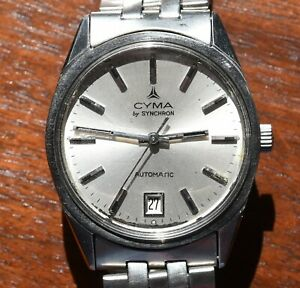 Vintage CYMA by Synchron Automatic Stainless Steel Date Mens Watch Original Band