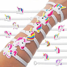 10PCS Cute Rubber Unicorn Horse Bracelet Wrist Band Kids Birthday Party Favours