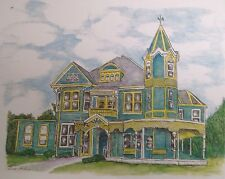 Blue Yellow Victorian House - small, artist, ink, realism, architecture