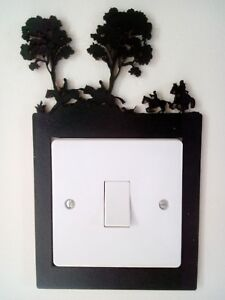 wooden light switch surround, bespoke gifts, home decor, farming, hunting. Horse