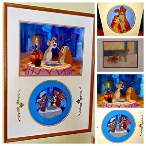 Disney Animation Cel Lady And The Tramp Rare 3 Cell Set + Commemorative Plate