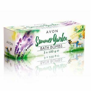 AVON Summer Garden Bath Bombs 3x 100g Orange, Honey & Lavender New & Boxed (M)
