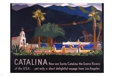 VINTAGE travel poster SANTA CATALINA ISLAND 1935 scenic landscape 24X36 ART