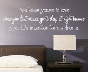 Wall Decal Quote Sticker Vinyl Art Lettering Letter You Know You're In Love L78