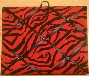French Bulletin Board Photo Memo Board Red & Black Zebra Print 8 x 10 inches