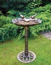 BIRD BATH BRONZE EFFECT OYSTER SHELL TABLE CLAM GARDEN ORNAMENTAL PEDESTAL DECOR