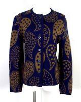 vtg 50s 60s Catalina Jacquard Navy Olive Paisley Cardigan Sweater 38