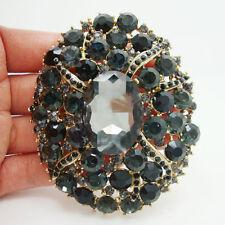 Vintage Black Oval Brooch Pin Crystal Rhinestone Brooch Pendant