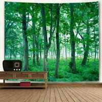 Forest Grass Tapestry Tree Green Wall Hanging Room Bedspread Throw Home Decor