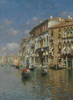 Rubens Santoro Gondolas On The Grand Canal Venice Giclee Canvas Print Poster