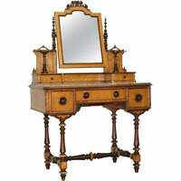 VICTORIAN 1880 CONTINENTAL BURR SATINWOOD DRESSING TABLE ITALIAN MARBLE TOP