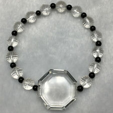 26g Natural Clear Quartz Crystal TAIJI FENGSHUI faceted beads strech bracelet