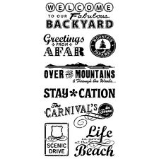 Inkadinkado Clear Stamps - Travel Words - Carnival, Beach, Mountains