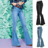 Women High Waist Jeans Flare Wide Leg Trousers Lace Up Bell Bottom Denim Pants