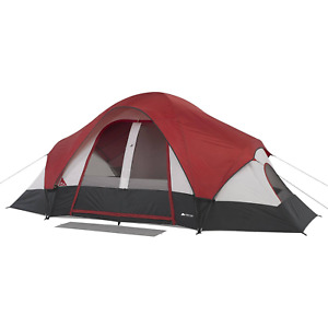 8-Person Camping Dome Tent with Rear Window Two Large Rooms Front Mud Flap