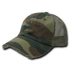 Forest Woodland Camo Vintage Mesh Snapback Trucker Camouflage Baseball Cap Hat