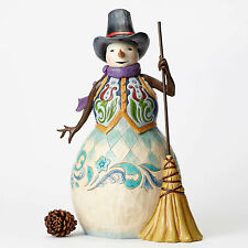 "Jim Shore Heartwood Creek Snowman with Broom Statue 24"" Tall 4053712 NEW NIB"