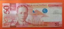 50 pesos Banknote Philippines 2016 unique serial#GK277777