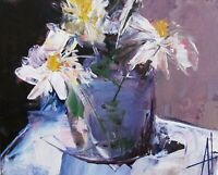 CONTEMPORARY MODERN IMPRESSIONISM ART ORIGINAL FLOWERS PAINTING ANNE THOUTHIP