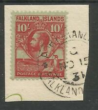 FALKLAND IS SG125 THE GV 1929-37   10/- CAR/EMERALD FINE USED ON PIECE C.£275+