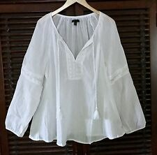 14 16 1X 2X FRESH WHITE Cotton Gauze Airy Peasant Tunic Top Blouse BOHO Crochet
