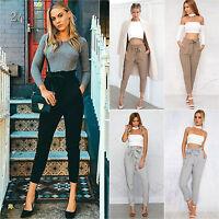Womens Casual Elastic Harem Pants Ladies High Waist Cropped Length OL Trousers