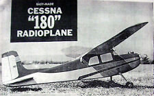 """Vintage CESSNA 180 1/2A 41"""" Span RC Model Airplane PLAN + Construction Article"""