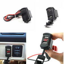 Car SUV Red LED Marine Boat 12V Voltmeter With Dual USB Port Charger Waterproof